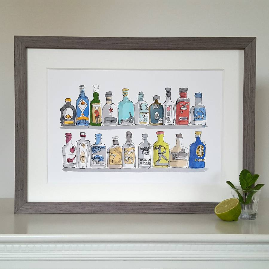 Limited edition gin bottle hand drawn and illustrated print by Chris Gent illustration