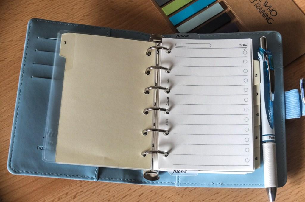Make notes, write lists, tick tasks off using a Filofax pocket organiser
