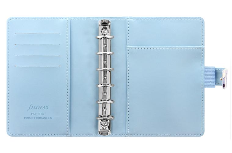 Indigo blue floral Filofax - lots of pockets inside