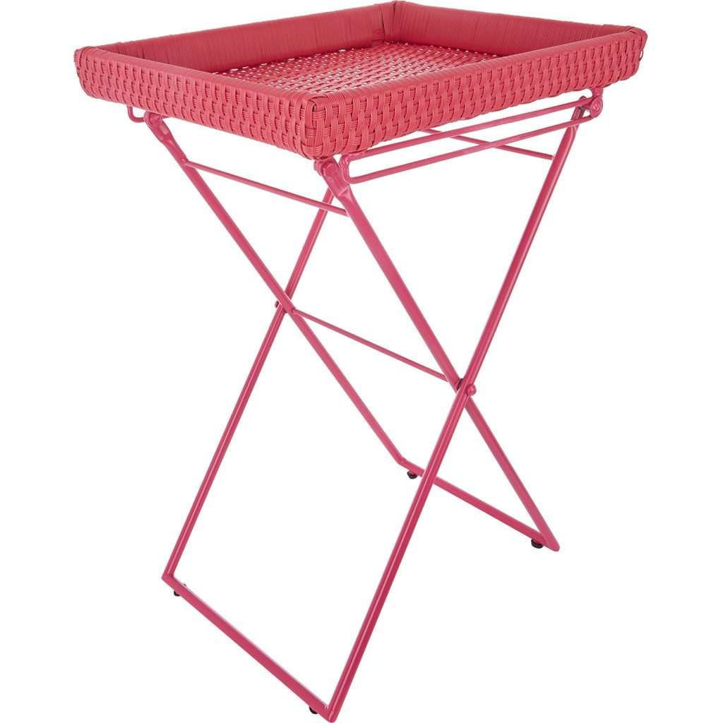 Pink woven tray style side table with removable top and folding legs - store it easily when not in use.