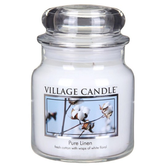 Bring the fresh and clean scent of pure linen into your home with this gorgeous scented candle jar from Village Candle