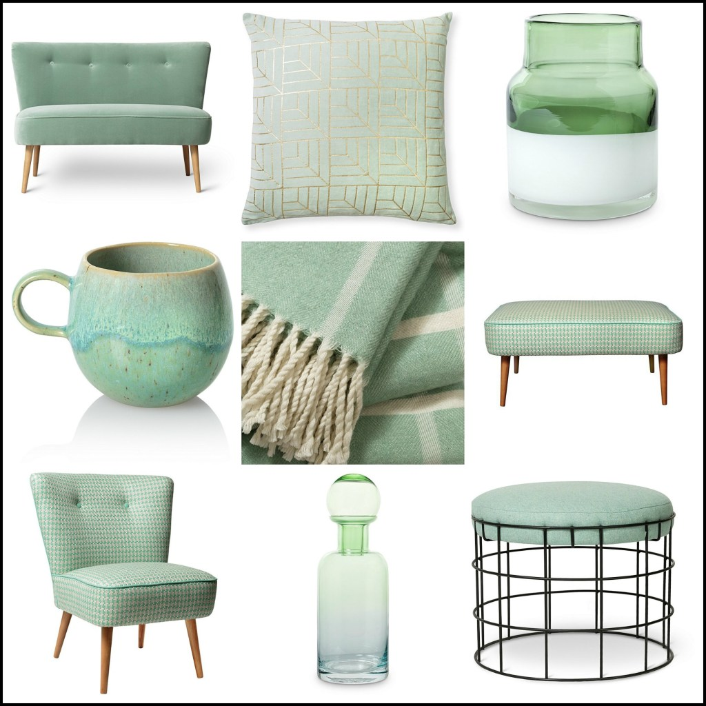Minty green coloured homeware and furniture for a fresh home uplift
