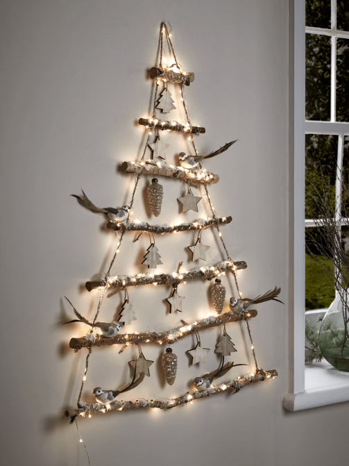 Attractive frosted branches minimal wall hanging Christmas tree - great if you're short on space