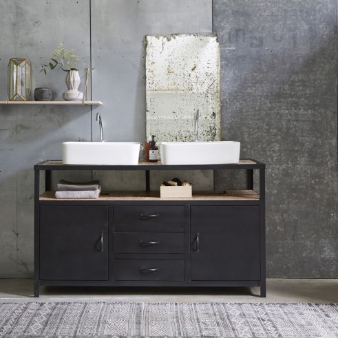 Create an industrial style look in your bathroom with this solid wood and metal vanity cabinet