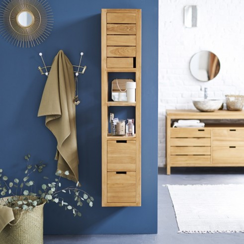 Love This Stylish And Elegant Slimline Solid Teak Wood Bathroom Storage Unit