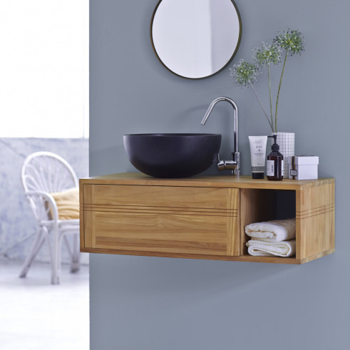 Gorgeous solid teak wood suspended bathroom washstand