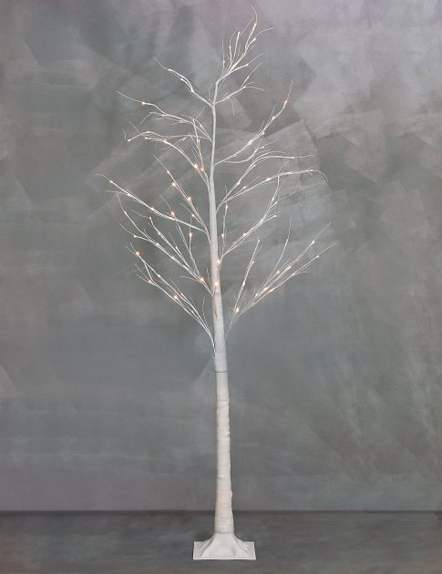 Simple and minimal contemporary white birch twig Christmas tree