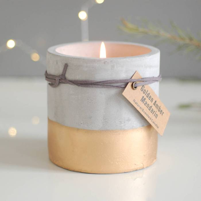 Stylish concrete and gold dipped candle