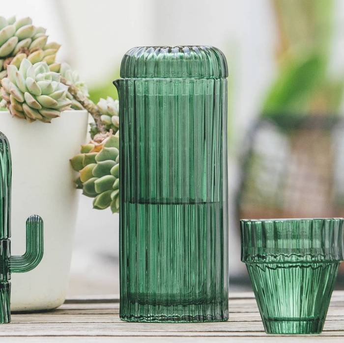 Gorgeous green cactus design glass carafe