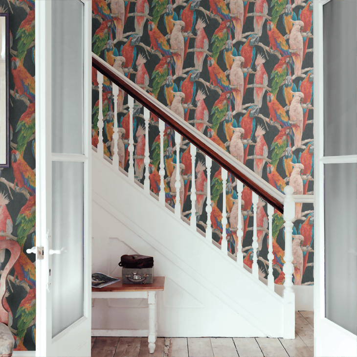 Love this gorgeously colourful parrot design wallpaper