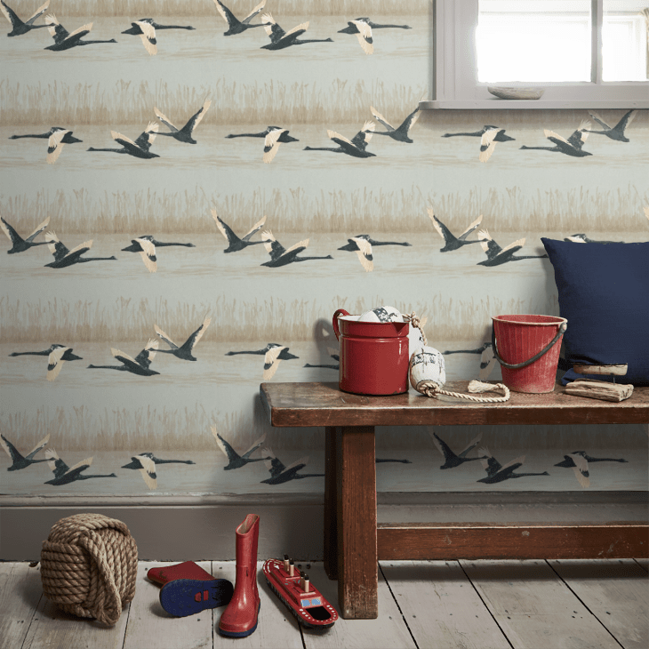 Decorate your walls with flying swans and bag a bargain on this wallpaper