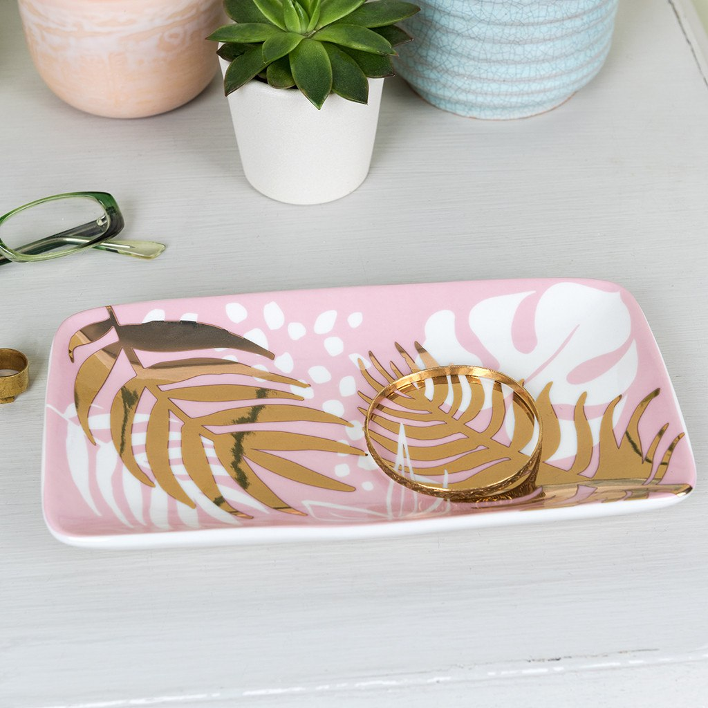 Large tropical palm design ceramic trinket dish