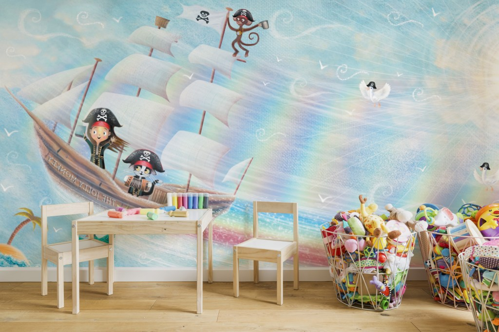 'Flying Pirate Ship' Wallpaper Mural by Patrick Brooks at Wallsauce.com