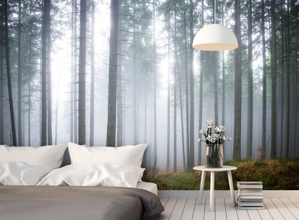 This misty forest design wall mural is stunning and makes a fantastic feature wall in your home