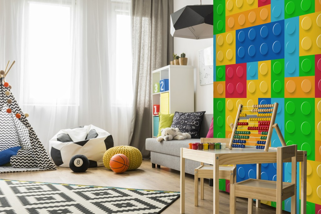 Children's Lego effect wall mural for decorating kids bedrooms