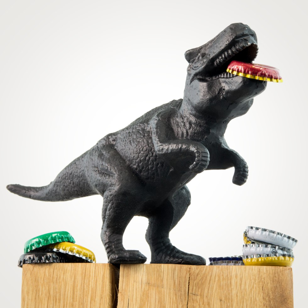 This mighty prehistoric dinosaur will open your bottles in the jaws of its mouth