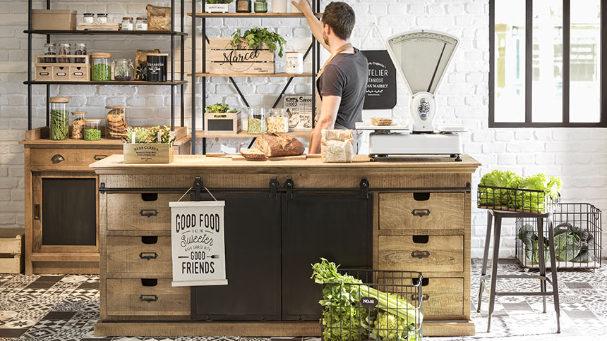 Modern industrial meets rustic country in the Green Market interior design trend