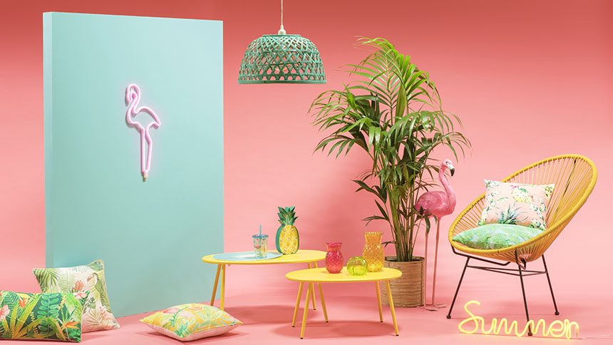 Bright bold and full of zing, create the feel of summer in your home with the Sweet Tropical trend