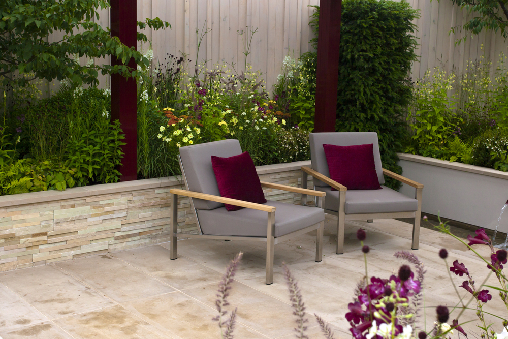 Natural stone and soft landscaping colours work well in a contemporary garden.