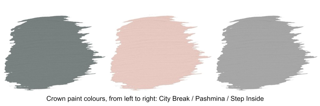 Crown Paint pink and grey colour swatches