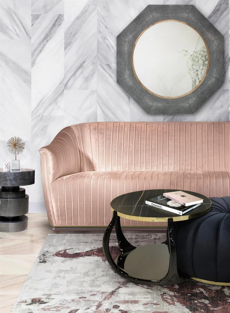 Love this contemporary living room style and especially the pink sofa