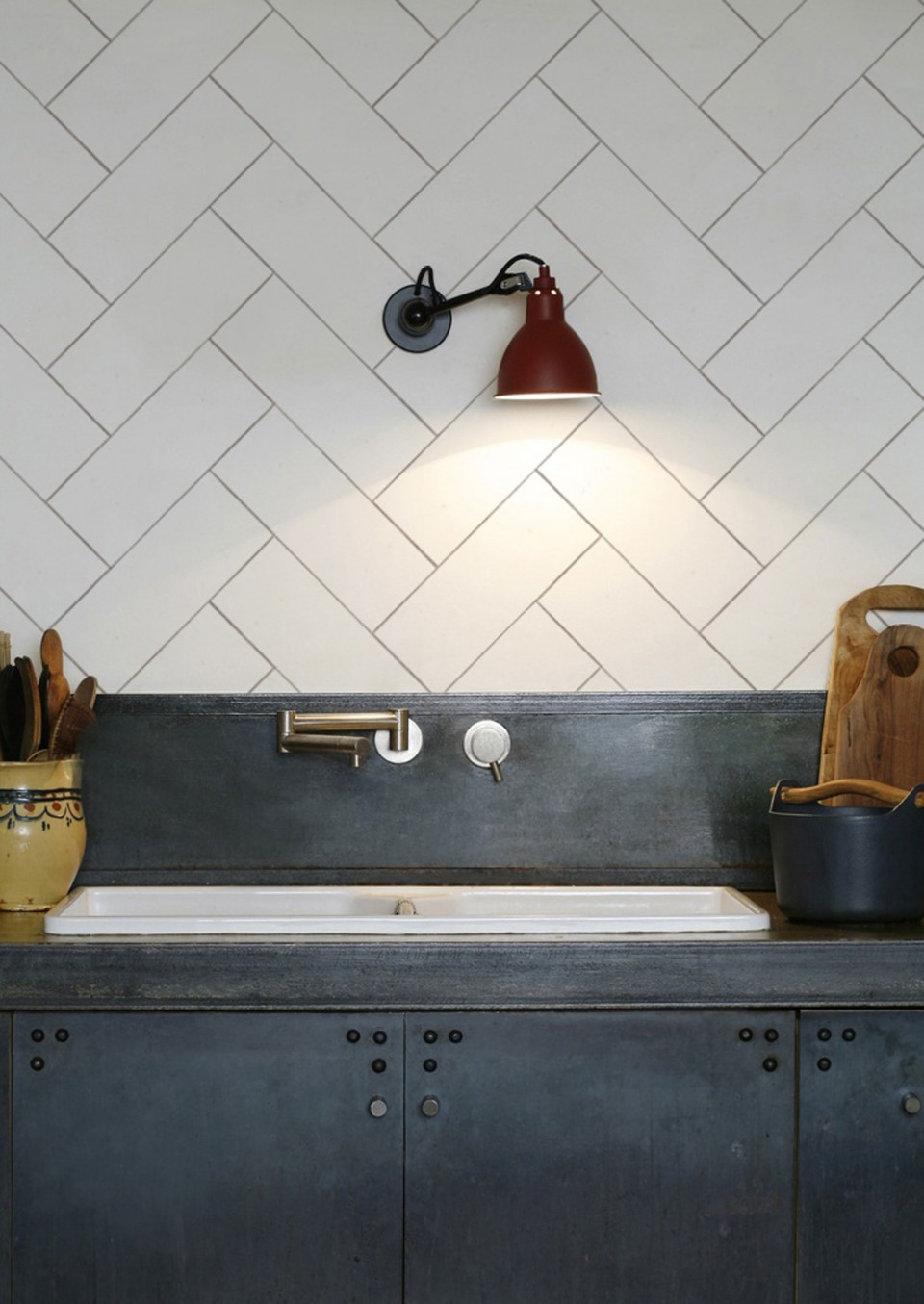 Get the look of herringbone tiles in your kitchen without the cost