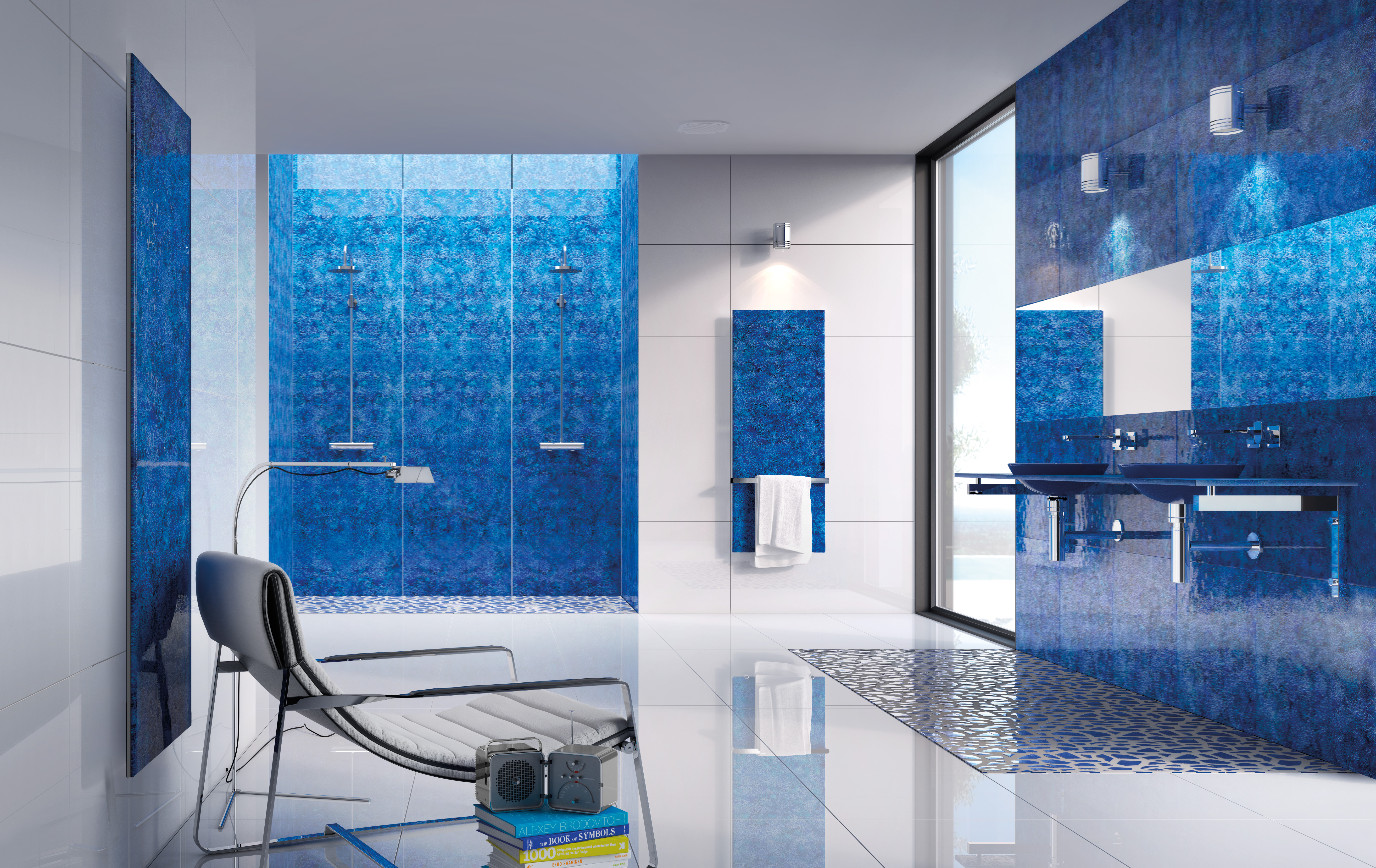 7 Bathroom Interiors Trends For 2018 And Beyond Fresh Design Blog - Colored-and-clear-glass-tiles-by-vetrocolor