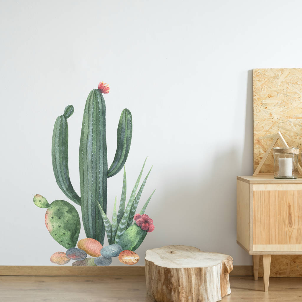Create a desert themed decor style with this cactus wall sticker