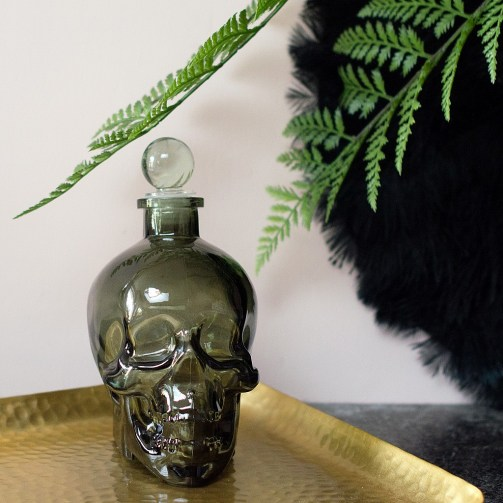 The only way to serve drinks at a Halloween party - from a skull decanter!