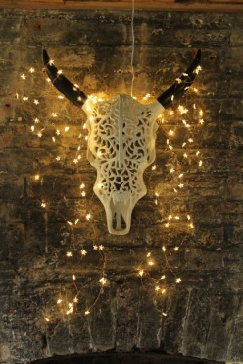 Create impact on your wall with an artificial horned bull skull - perfect to use for gothic home decor for halloween