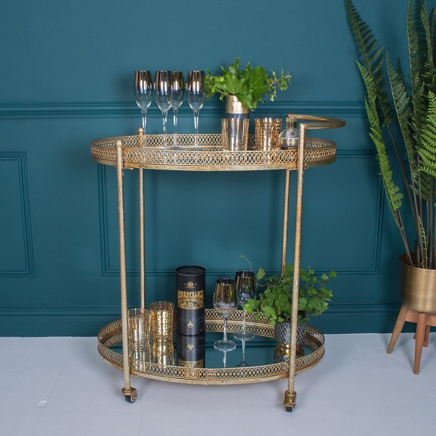 Gorgeously glam antique gold mid-century inspired bar cart drinks trolley