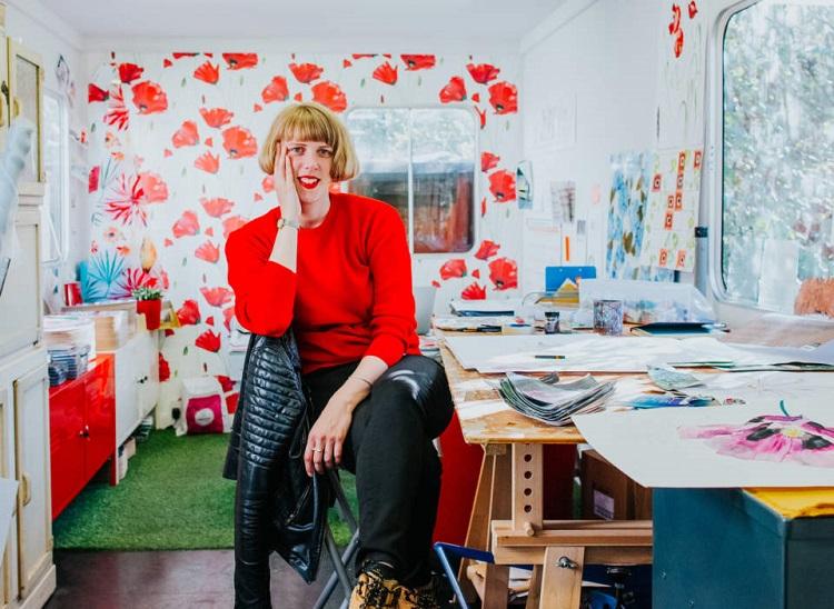 Independent glass designer Emma Britton in her studio