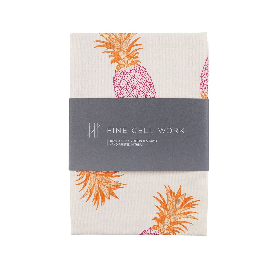 Pineapple motif design tea towel from Fine Cell Work