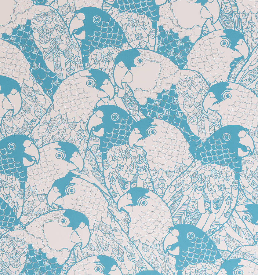 Contemporary playful blue wallpaper in chatty parrots design