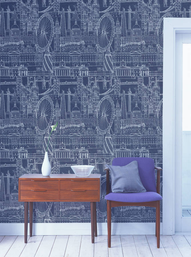 Bring the iconic London skyline into your home with this blue wallpaper design
