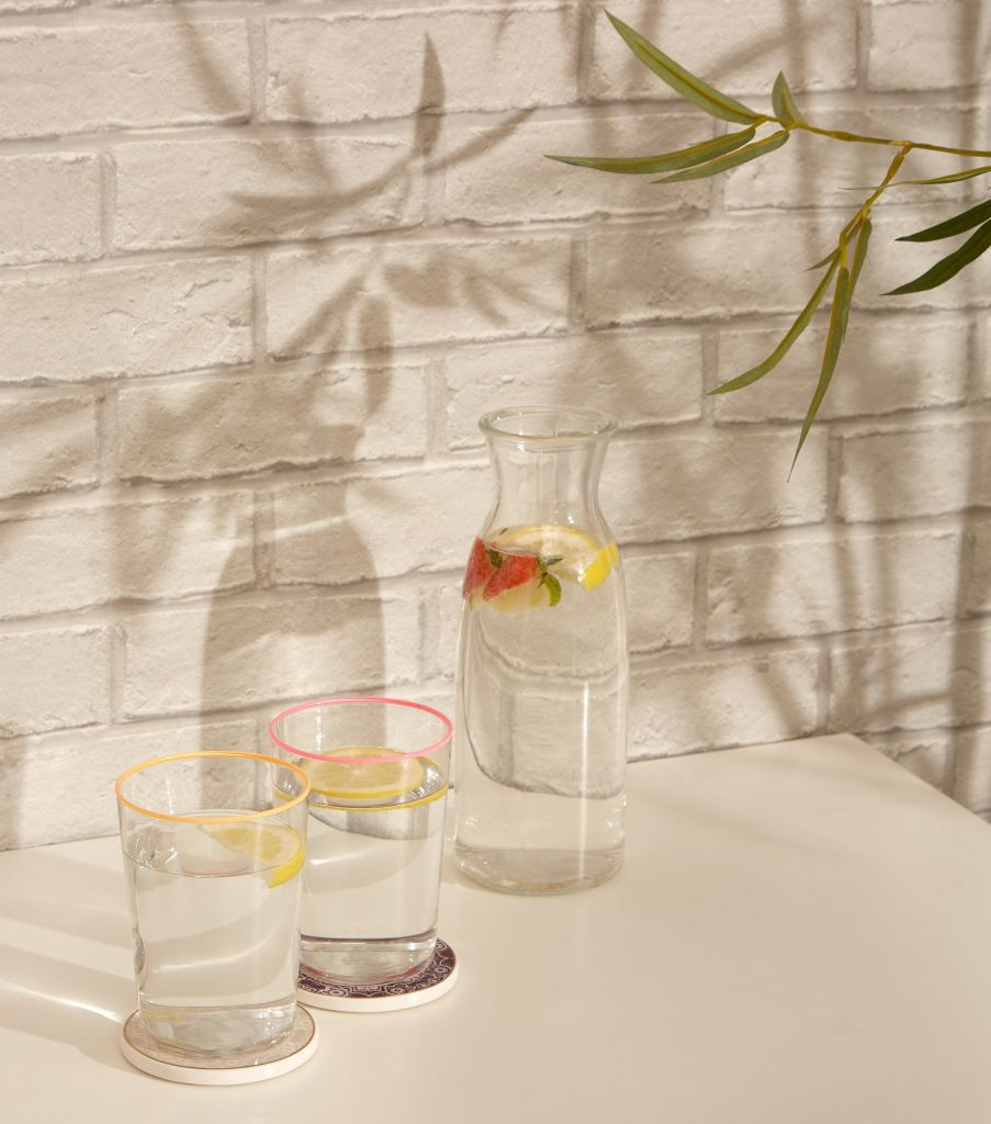 Neon rimmed glasses from the from the affordable homeware range at New Look