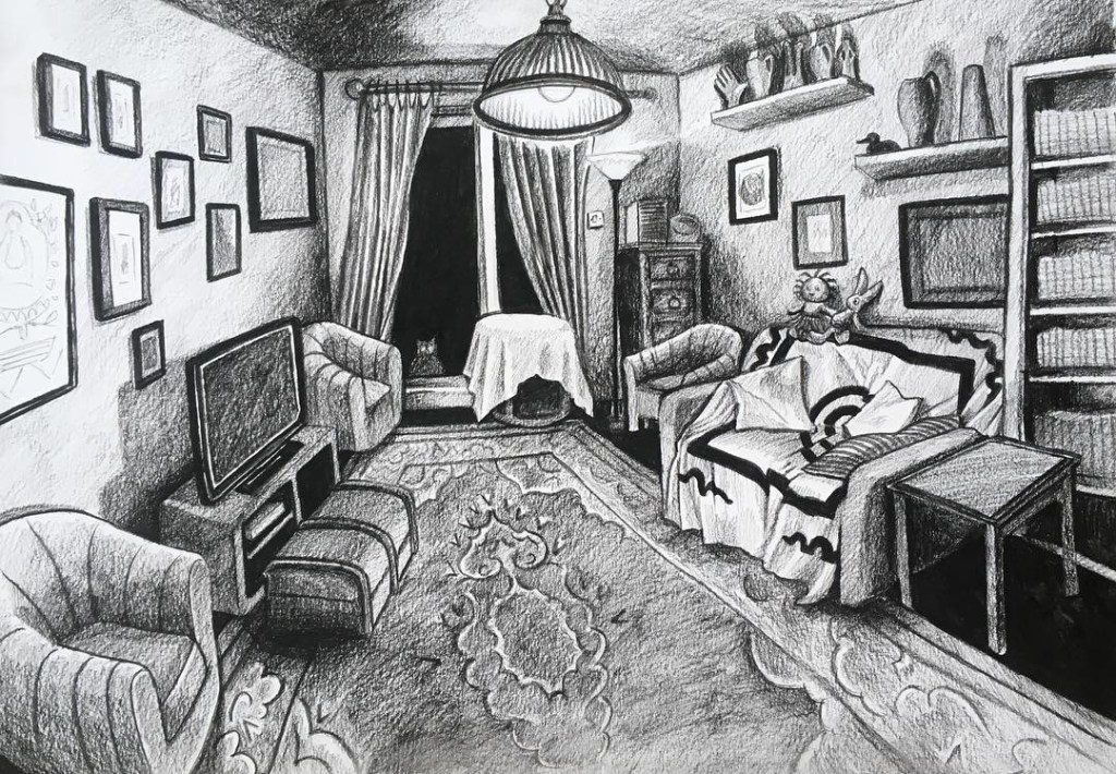 'Living Room', charcoal on paper, made by Debbie Chessell during First Floor Space residency