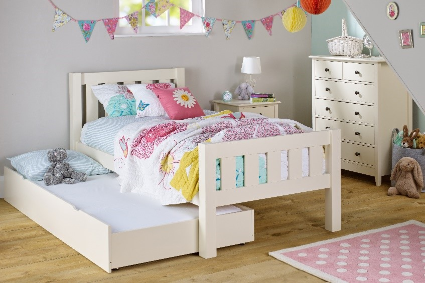 Choose a bed with under bed storage options so you can hide away clutter and keep a small bedroom tidier