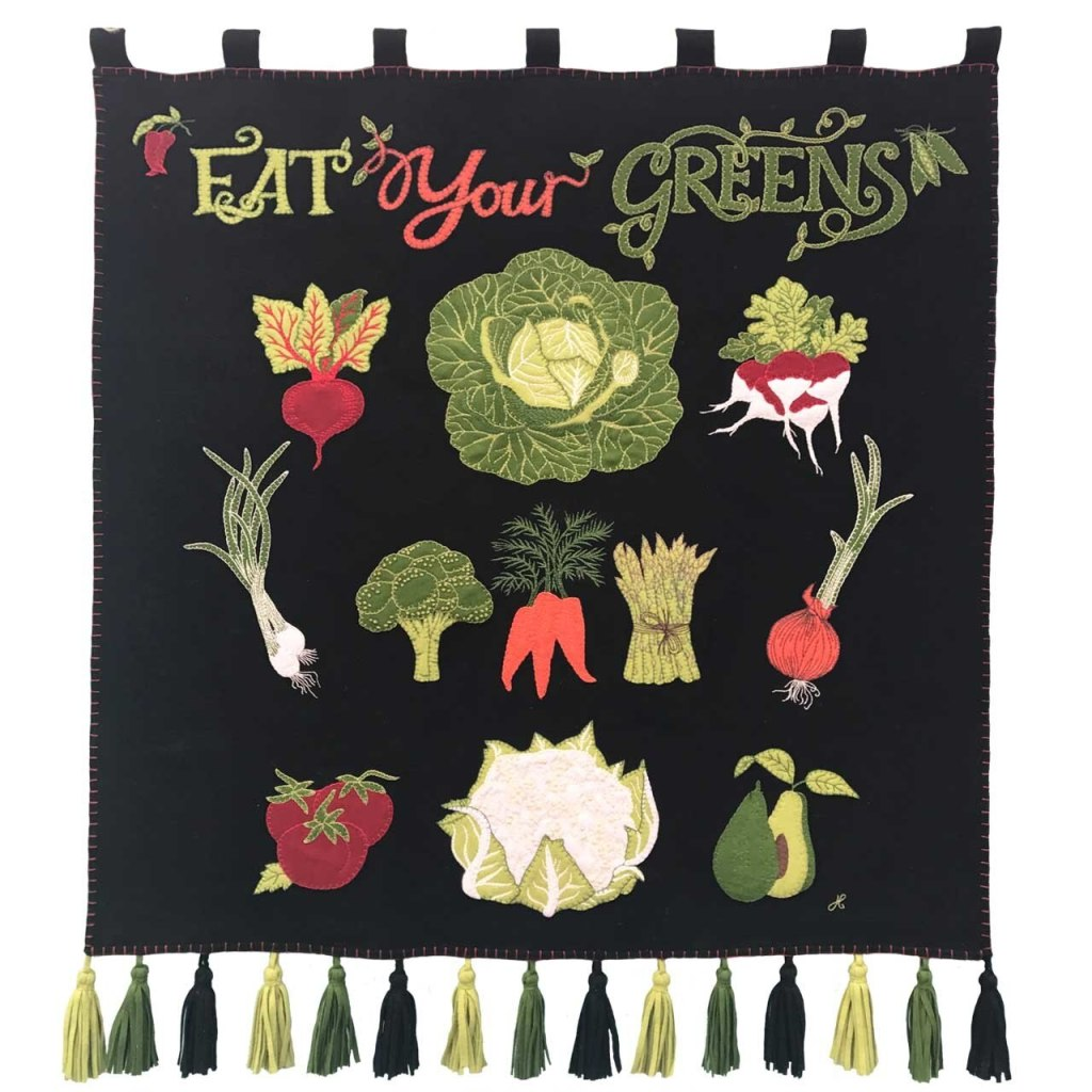 Stunning eat your greens wall hanging from the Jan Constantine vegetables collection