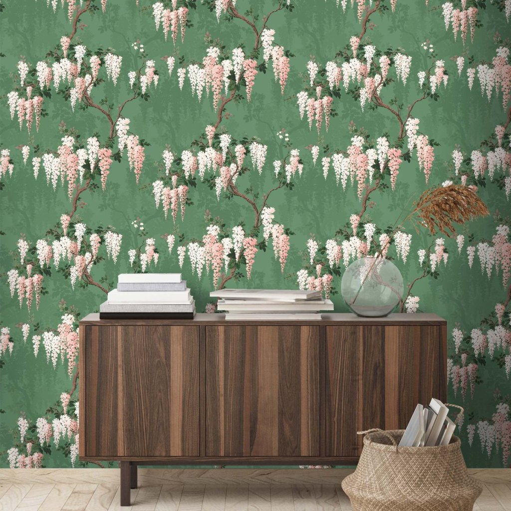 This floral wisteria wallpaper speaks of spring! It's dramatic and a lovely addition to your home decor