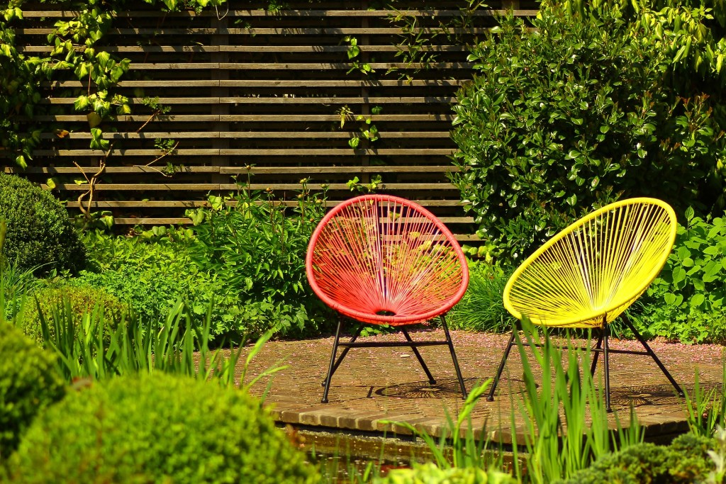Colourful furniture makes a bold statement in the garden