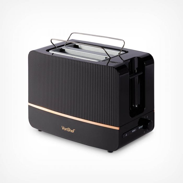 Stunning black and copper contemporary design toaster