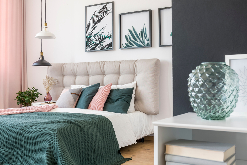 Beautifully decorated pink and green theme bedroom to inspire you when buying property