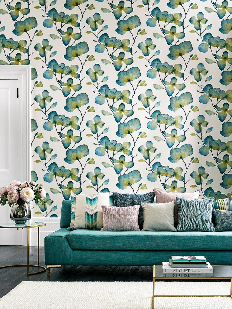 Beautiful translucent flower petal design wallpaper by Harlequin