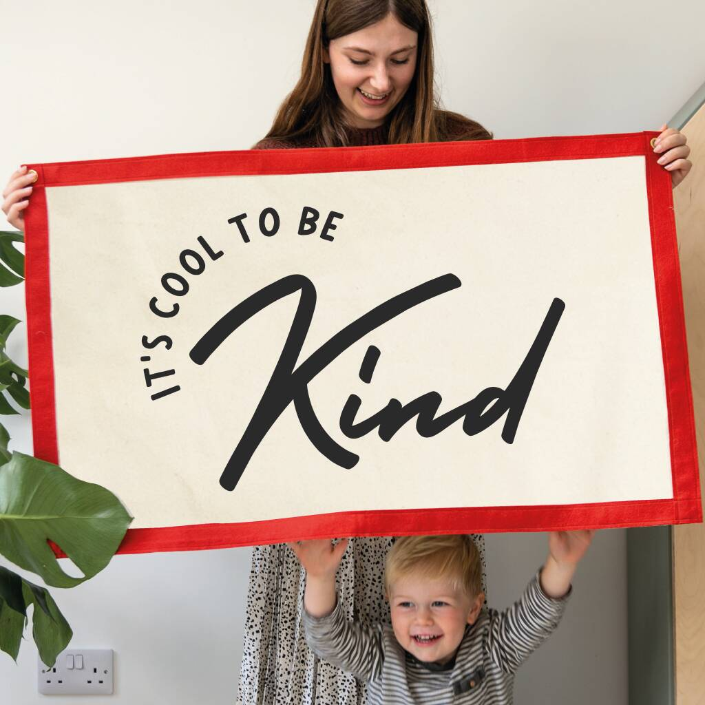 Spread a positive message with this It's Cool to be Kind fabric wall hanging
