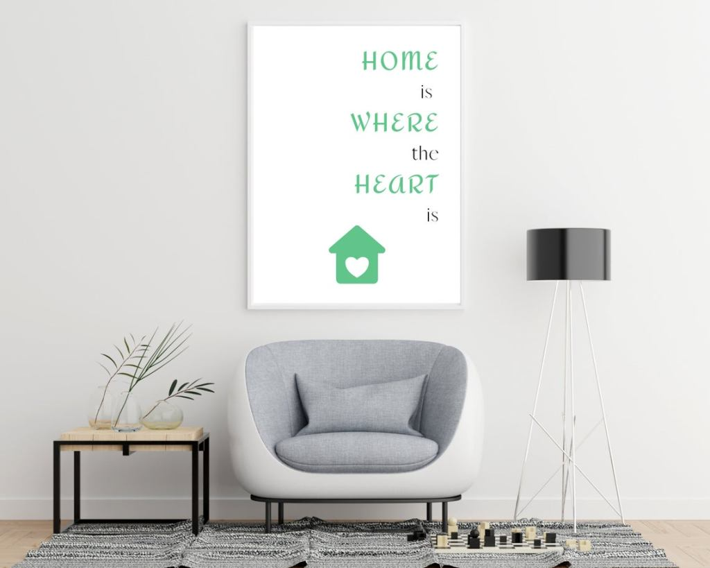 Create your own wall art with affordable instant download printable art like this Home is Where the Heart is printable