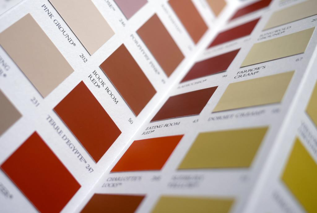 Colour swatch for decorating featuring a range of paint colors