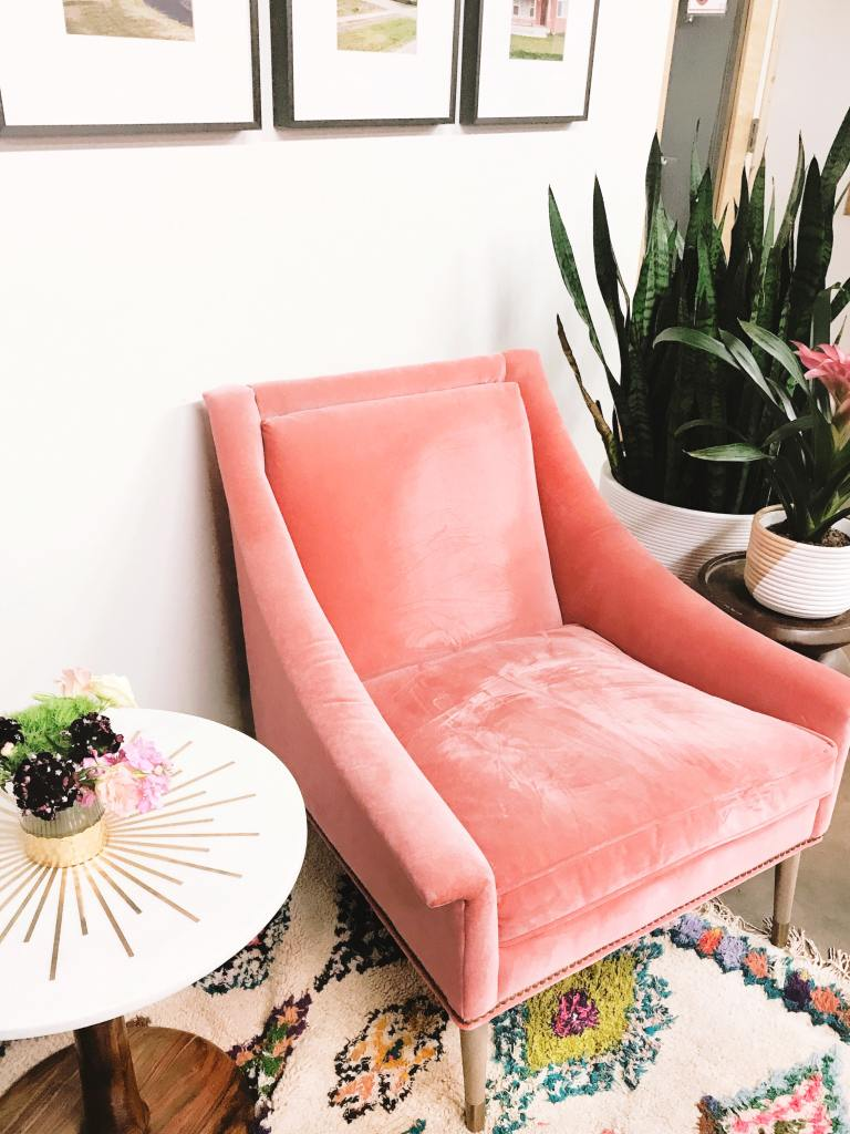 Gorgeous pink velvet contemporary chair