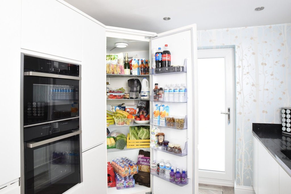 This kitchen fridge is well stocked with food