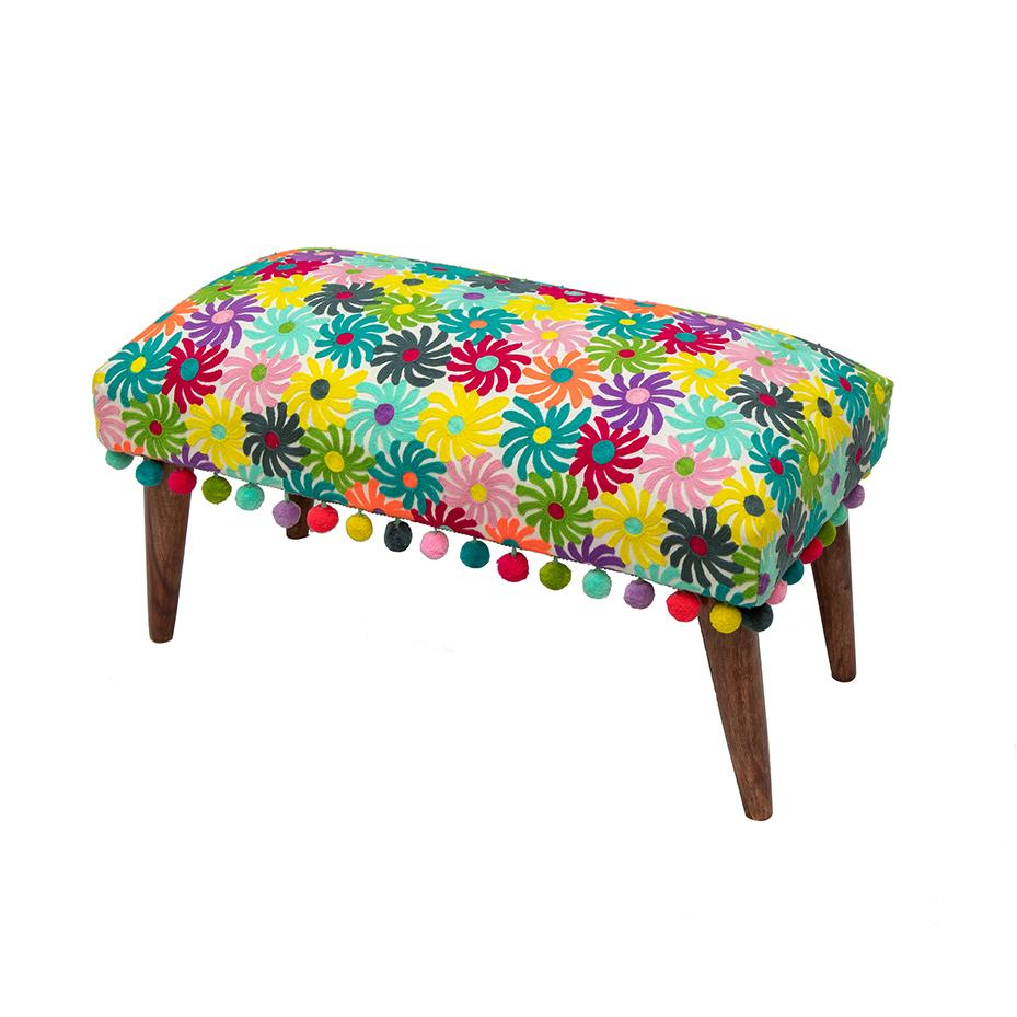 Pinwheels embroidered bench by Bombay Duck